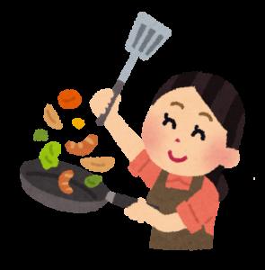 料理をするママ