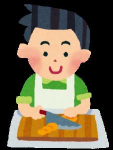 料理をする旦那のイラスト