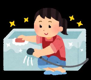 お風呂掃除をするママ