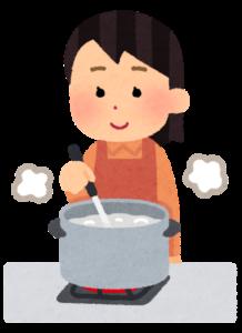 鍋を使って茹でるイラスト