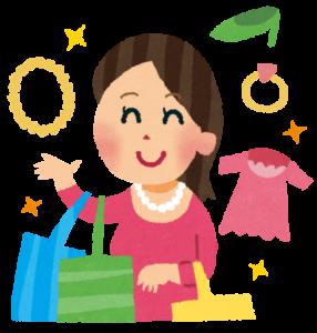 買い物する女性のイラスト